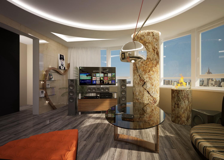Дизайн просторной гостинной в квартире
