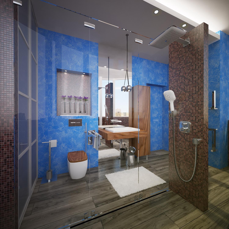 Дизайн ванной комнаты с душевой 1