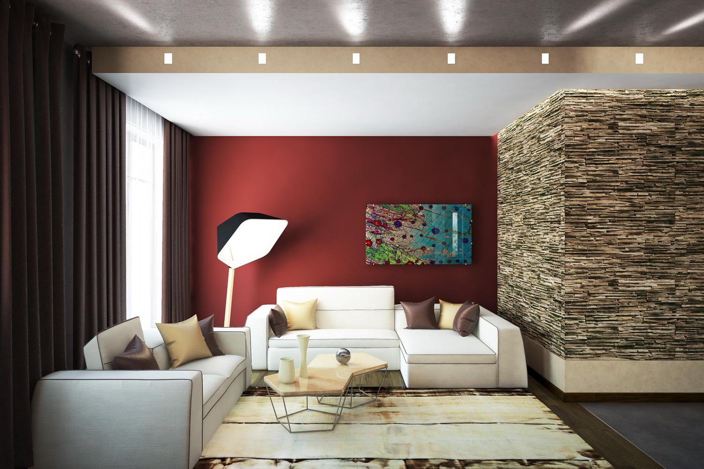 Дизайн гостиной с камином 1