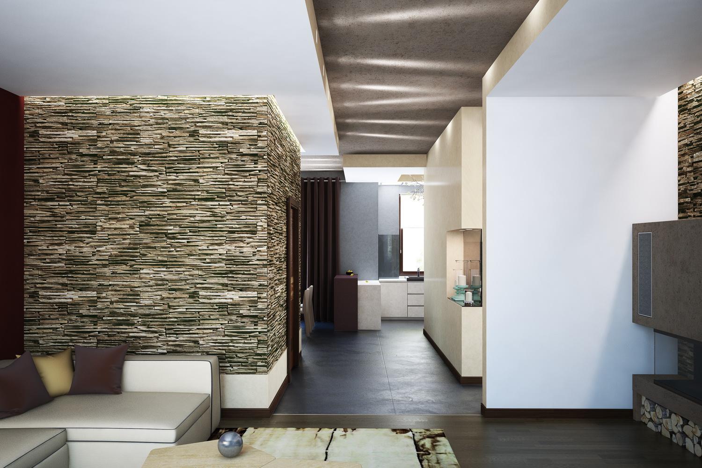 Дизайн гостиной с камином 2