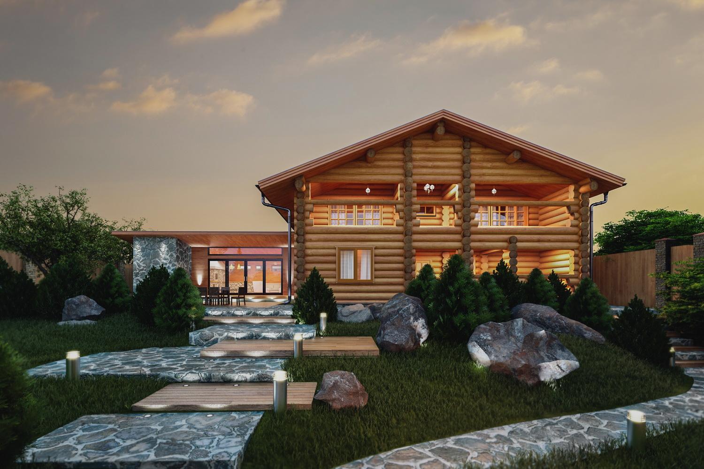 Двухэтажный деревянный дом фото