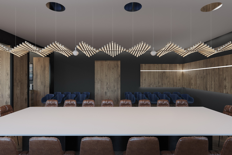 Фото просторной переговорной комнаты